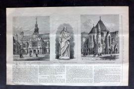 ILN 1880 Antique Print. City of Oxford High School for Boys, St. Saviour's Church